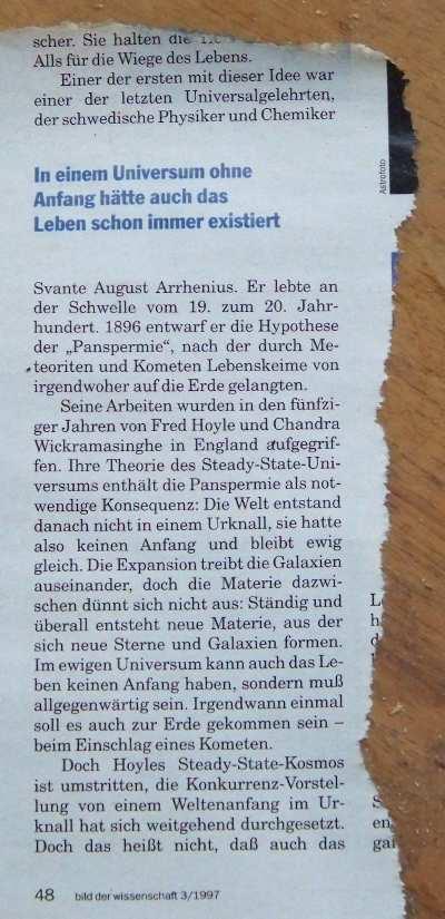 Ausgerissener Zeitungsartikel