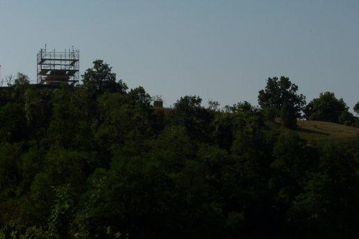 Stupa-Baustelle am Abend