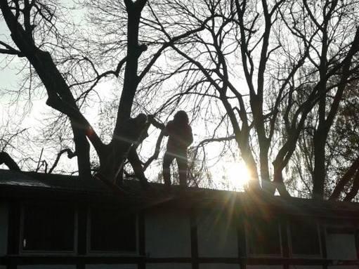 Sonne über dem Dach