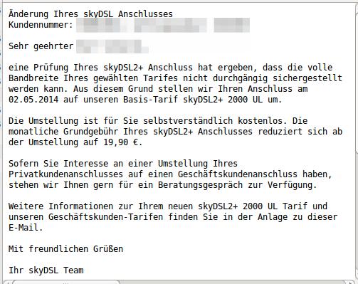 Email Tarifaenderung